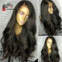Sunnymay 360 Кружева Фронтальная парик предварительно сорвал с волосы младенца 150% волна плотности человеческого тела волосы парики бразильский