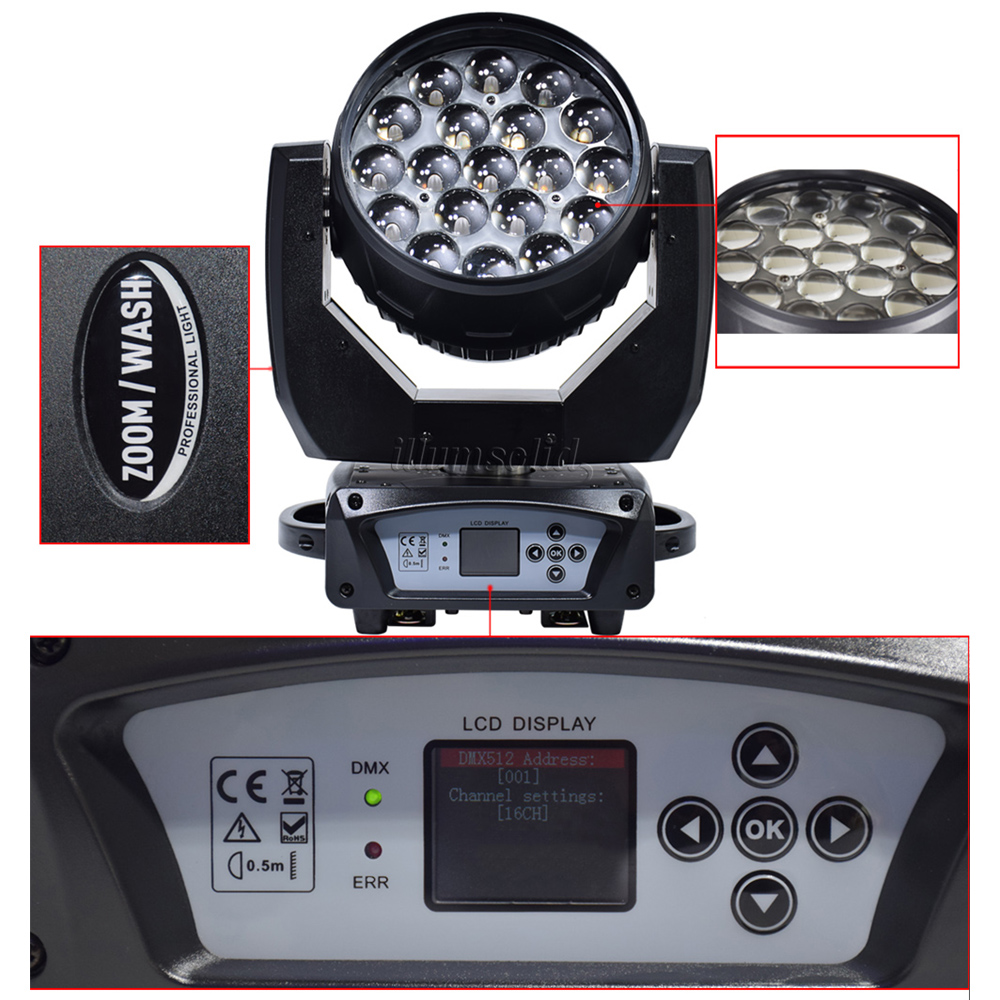 19X15W LED zoom moving head light RGBW Wash Effcect Light dmx512 beam party lights for stage Dj equipment in Stage Lighting Effect from Lights Lighting