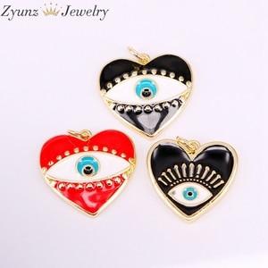 Image 3 - 30 pièces de pendentifs en émail, mélange aléatoire, perles oculaires en émail, rondes, étoiles, lèvres, mains, yeux, pour collier, découvertes pour bijoux