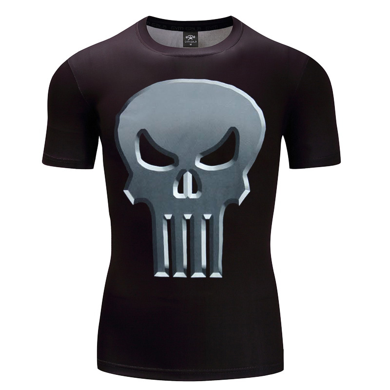 New Design Compression Skull 3d Print Men tshirt Fashion 3D Punisher T-Shirt Summer Short Sleeve Casual Breathable Tops Tee