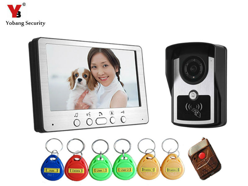 Yobang Security 700TVL RFID Keyfobs Video Door Phone Intercom Doorbell Kit IP55 Weatherproof Night Vision Camera Home Security