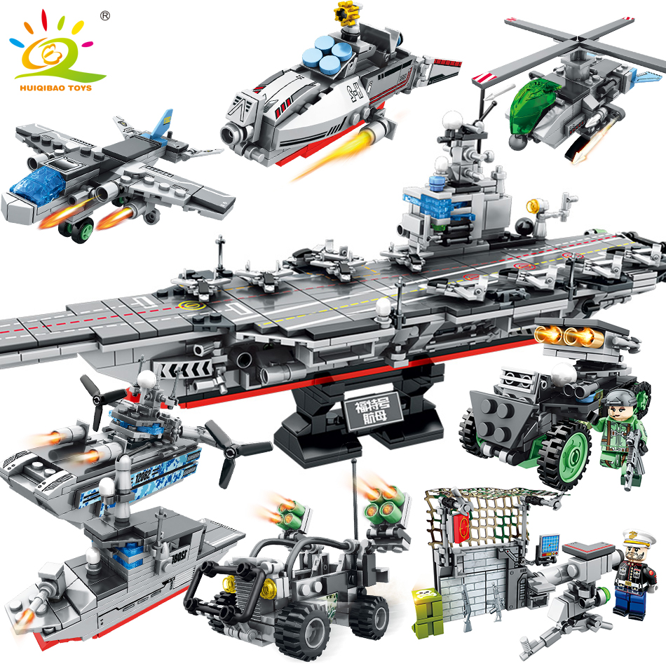 836PCS 8in1 Army USS Aircraft Building Blocks Compatible legoed Military Helicopter warship weapon DIY bricks Toys for Children sluban 883pcs military series army navy warship model building blocks cruiser plane carrier bricks gift toys for children