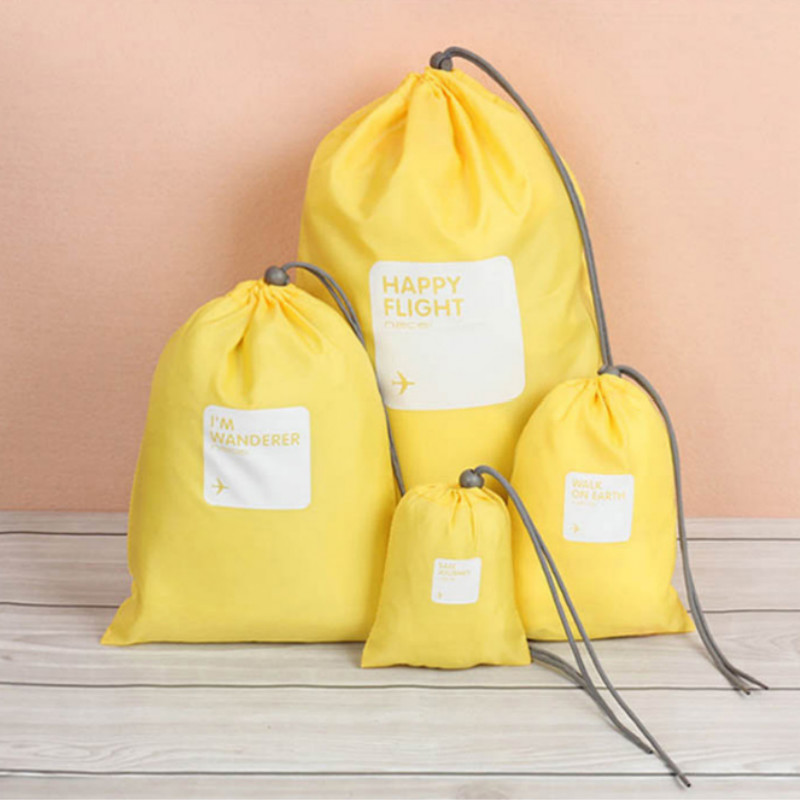 4Pcs/set Travel Waterproof Drawstring Pouch Small Bag Clothes Tidy Organizer Packing Cube Drawstring Bag