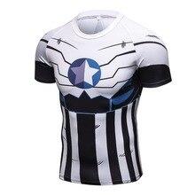 2017 Nuevo camiseta de compresión Anime superhéroe Punisher Capitán América Superman 3D T camisa Fitness mallas capa Base T camisas