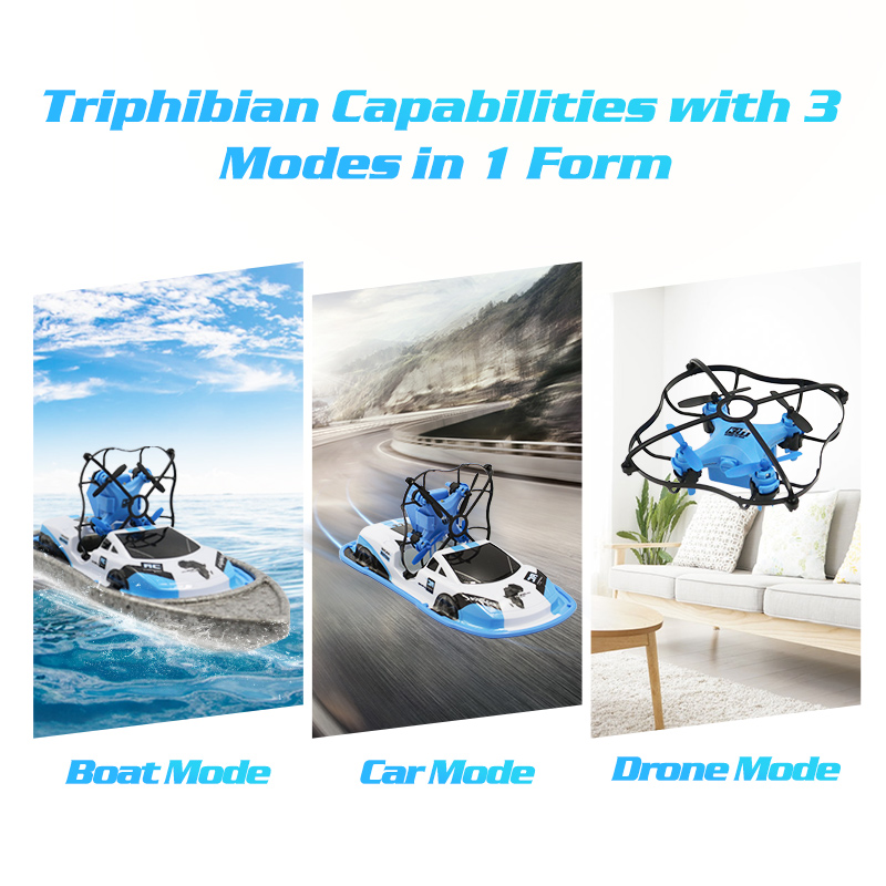 RC Boat Flying Air Boat Radio-Controlled Machine on the Control Panel Birthday Christmas Gifts Remote Control Toys for Kids (3 in 1 Blue)