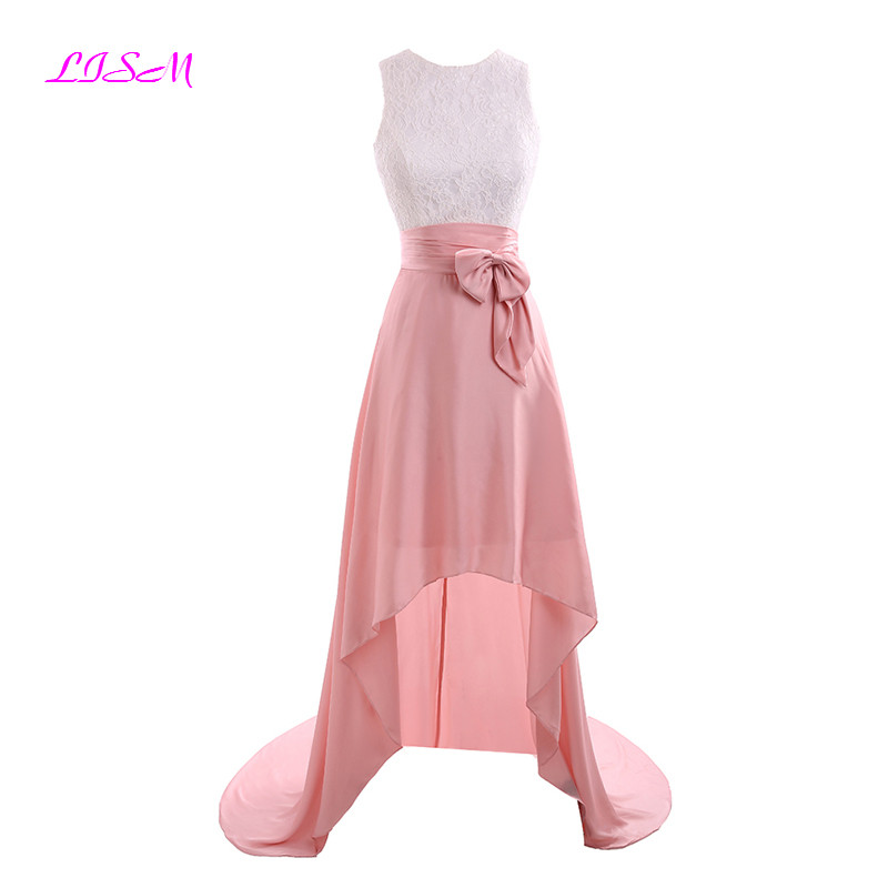 Pink Chiffon Lace Hi-Low   Prom     Dresses   O Neck Sleeveless Empire Party Gowns Knee-Length Formal   Dresses   with Bow 2019 vestido gala