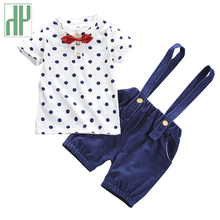 Children Clothes Summer Dot Gentleman Suit For Toddler Boys Outfit Short Sleeve Shirts+shorts Kids Cotton Costume