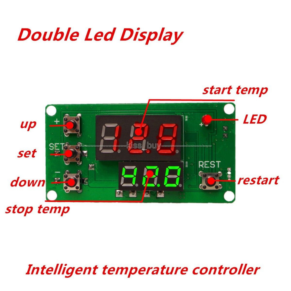 DC12V Dual Display LED Digital Intelligent Thermostat Regulator Temperature Controller Switch Constant