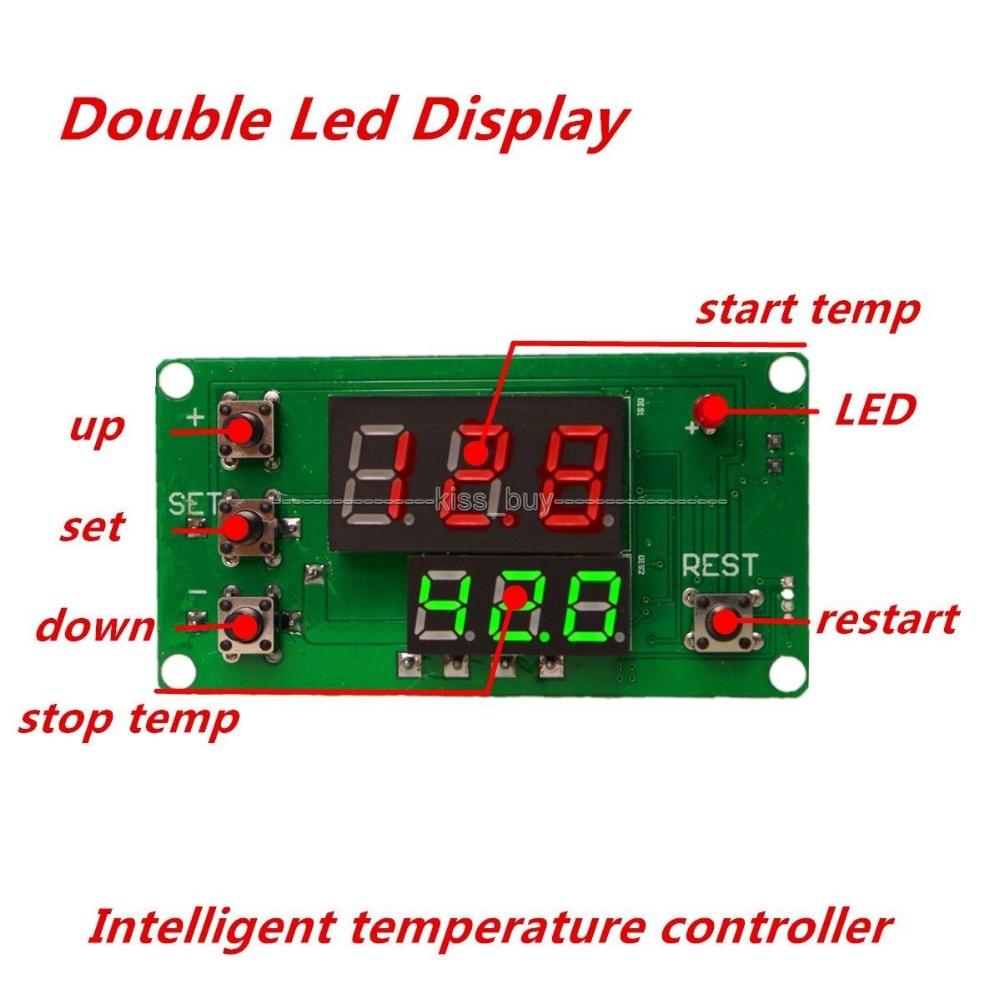 DC12V Dual Display LED Digital Intelligent Thermostat Regulator Temperature Controller Switch Constant