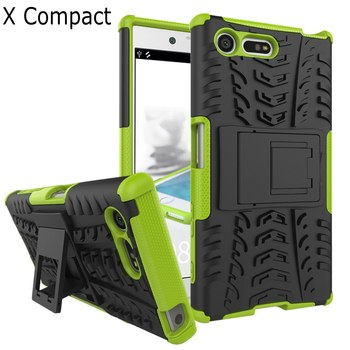 Heavy Duty armor stand with Protective Double Color Shock Proof Cover case for Sony Xperia X Compact Sony X compact +screen film ソニー Xperia X Compact