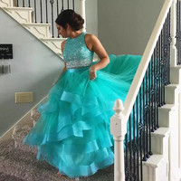 2019 Quinceanera Dresses Long Two Piece Dress Beading Crystal Tulle Ball Gown De 15 Anos Formal Party Quinceanera Gowns