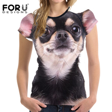 FORUDESIGNS Women T-shirt Kawaii Chihuahua Printed Casual Tops Tees Tshirts Womens T Shirts Teens Girls Shirt Summer 2018