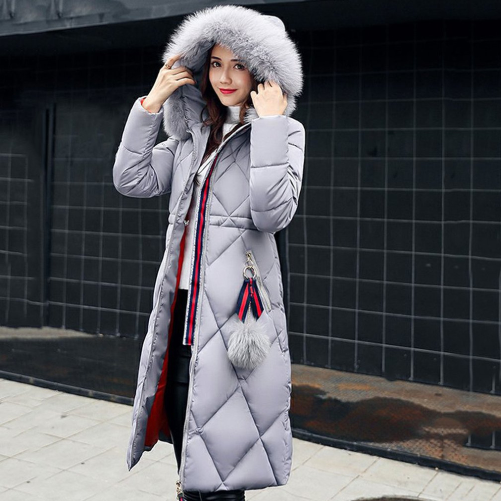 Women Basic Cotton Padded Coat Winter Warm Slim Argyle Parka Long Thick Coat with fur ball Hooded Outercoat Overknee Parkas women winter cotton padded jacket warm slim parkas long thick coat with fur ball hooded outercoat female overknee hoodies parkas