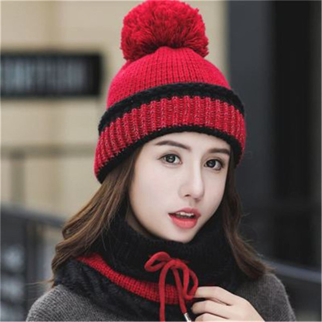 New youth winter thick plus cashmere warm masks hat  scarf autumn  winter women's knit hat wool ball cover ear collar three set
