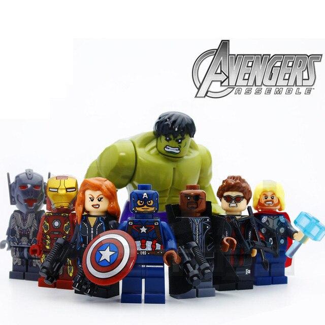 8 pçs/lote Legoings Os Vingadores Hulk Thor Capitão Iron-man Black Widow Blocos de Construção Kit Brinquedos As Crianças Presentes