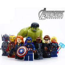 8 pcs/lot Legoings The Avengers Hulk Thor Capitaine Iron-man Black Widow Blocs de Construction Kit Jouets Enfants Cadeaux(China)