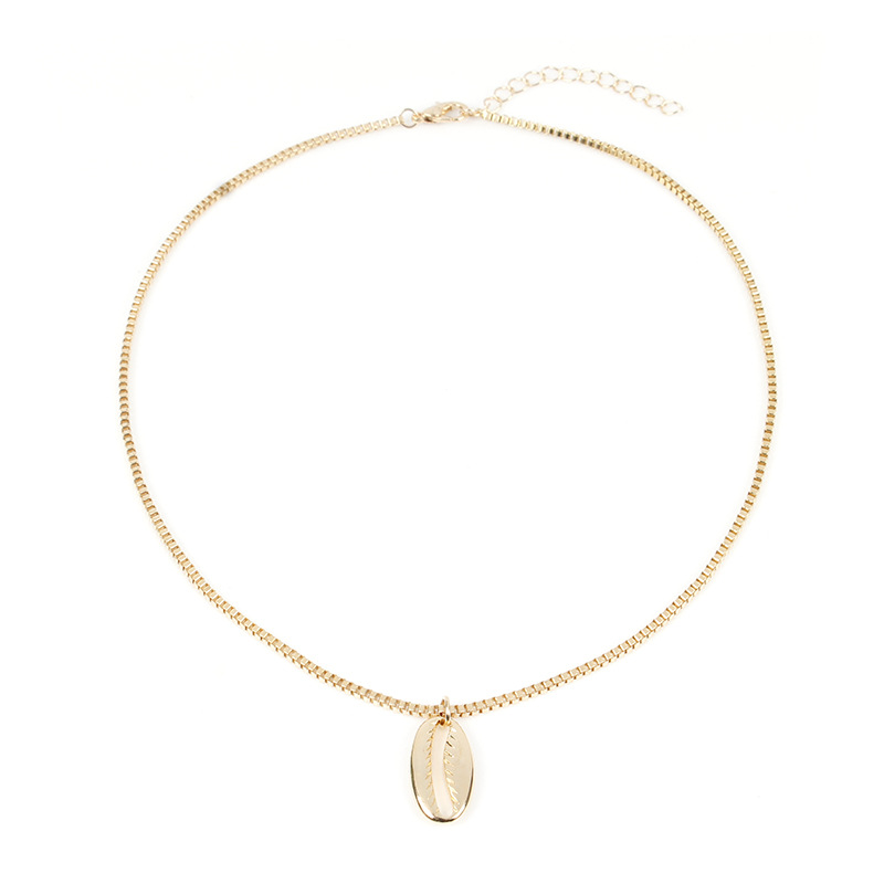New Personality Metal Shell Long Chain Necklace Pendants Women Fashion Gold Silver Clavicle Statement Necklace in Pendant Necklaces from Jewelry Accessories