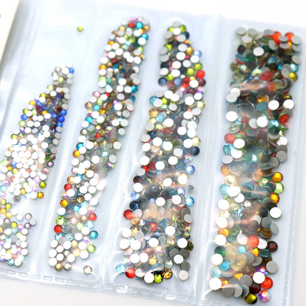 1แพ็คFlatbackแก้วเล็บRhinestonesผสมขนาดSS4 SS6 SS8 SS10ตกแต่งเล็บหินเงาอัญมณีเล็บอุปกรณ์เสริม