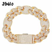 JINAO NEW 16mm Miami Lock Clasp Cuban Link 7 9 Inch  Bracelet Iced Out AAA Cubic Zircon Bling Hip hop Men Jewelry Gift