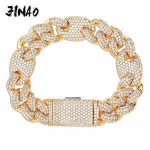 Image 1 - JINAO NEW 16mm Miami Lock Clasp Cuban Link 7 9 Inch  Bracelet Iced Out AAA Cubic Zircon Bling Hip hop Men Jewelry Gift