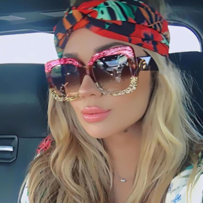 2018 Newest Brand Designer Women Men Square Luxury Sunglasses Oversized Unique Clear Female Sun Glass Eyeglasses Big Large
