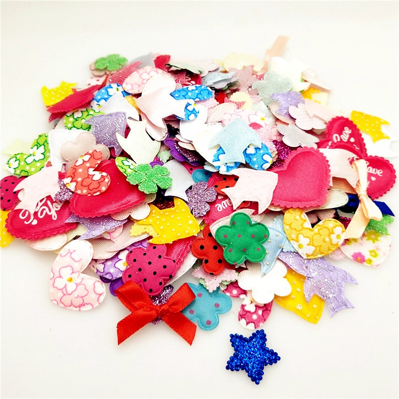 Suoja Mix 100pcs/lot Flower Patches Pads Felt Appliques Diy Craft Accessories For Hairband Padded Flowers Appliques Craft Sewing