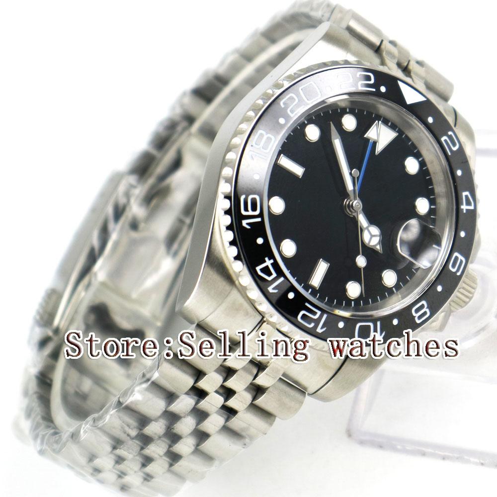 40mm Parnis czarny sterylne Dial czarny ceramiczny Bezel jubileusz pasek w stylu niebieski GMT data oknie automatyczny męski zegarek w Zegarki mechaniczne od Zegarki na  Grupa 3