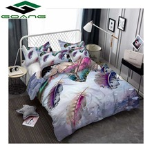 GOANG 3d bedding set duvet cover bed sheet pillow digital printing Colorful peacock feathers twin Home textile