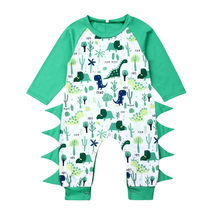 Baby Romper Girl Boy Green Dinosaur Cartoon Long Sleeve Jumpsuit Casual Newborn Rompers Onesie Toddler Kids Clothes 2019 19Jul(China)
