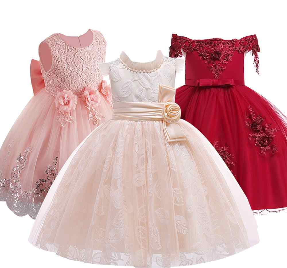 2019 Girls Dress Long Sleeve Wedding Party Kids Dresses For