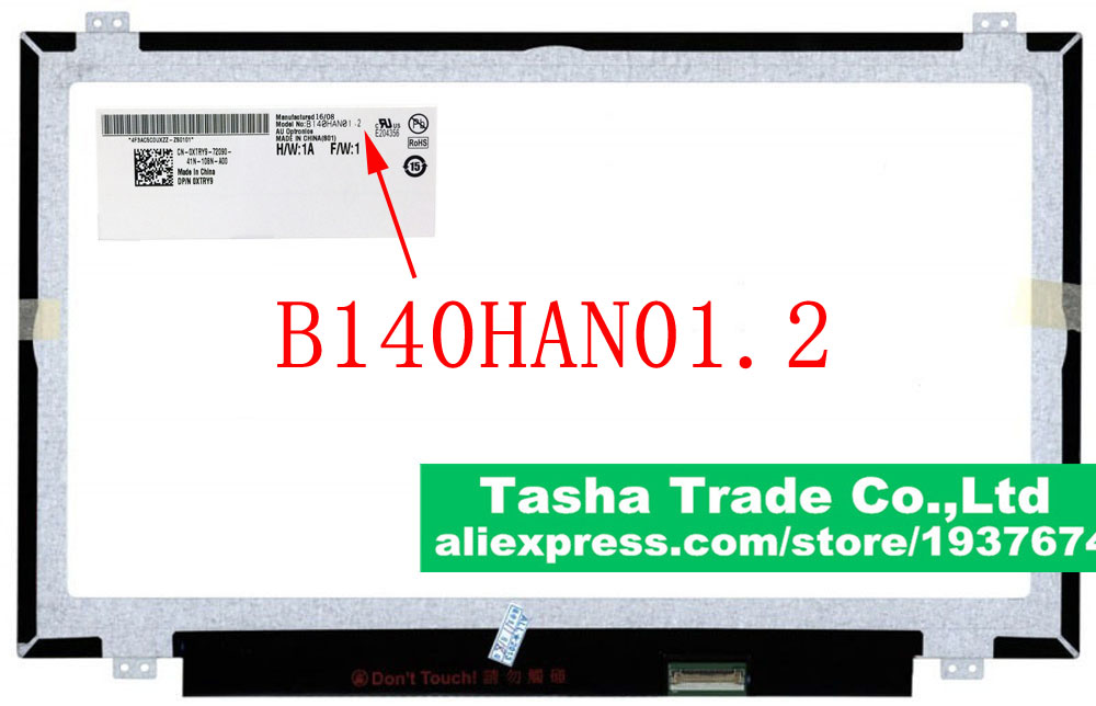 AU Optronics AUO B140HAN01.2 LCD Laptop Screen Panel MATTE IPS FHD 1920*1080 eDP 30pin 14.0 inch Original New AUO123D original 14 inch led 30pin 1920 1080 laptop led lcd screen auo b140han01 2 for lenovo y40 lcd display