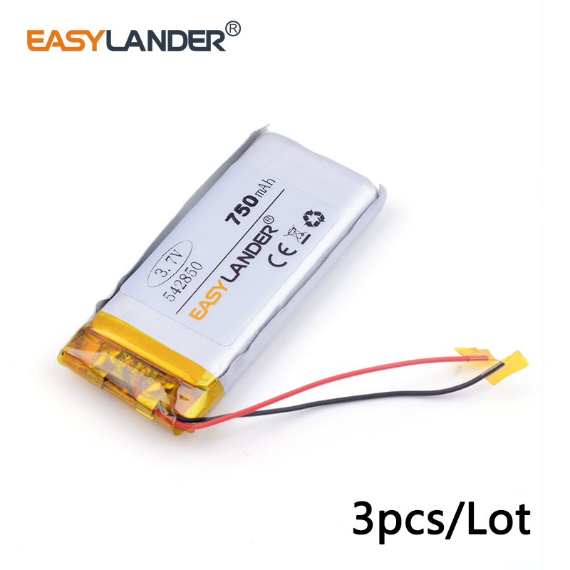 3pcs /Lot 750mAH 542850 3.7v lithium Li ion polymer rechargeable battery PLIB for dvr,GPS,mp3,mp4,cell phone, tablet batte
