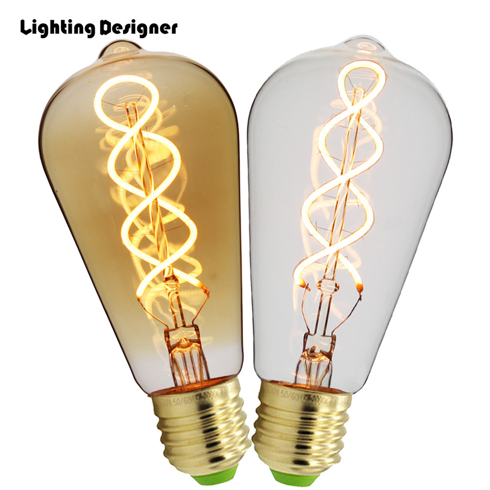 ST64 LED dimmable Edison bulb E27 vintage lamp bulb double spiral new design soft LED filament 4W 110V 220V commercial light