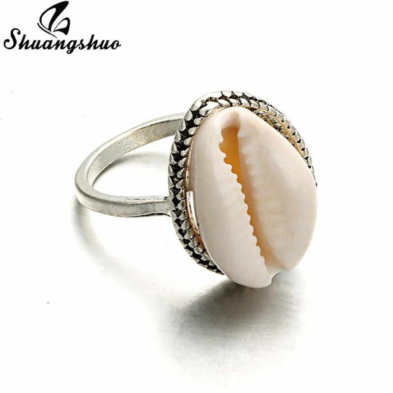 Shuangshuo Fashion Women Rings Natural Shell Ring Ocean Beach Seashell Swimming Ring Jewelry for Women Midi Finger Rings Boho