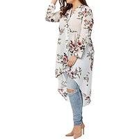 Vintage Blusas Perspektive Langarm V-ausschnitt Blumendruck High Low Pullover Hemd Casual 2018 Damen Herbst Weiß Sexy Bluse