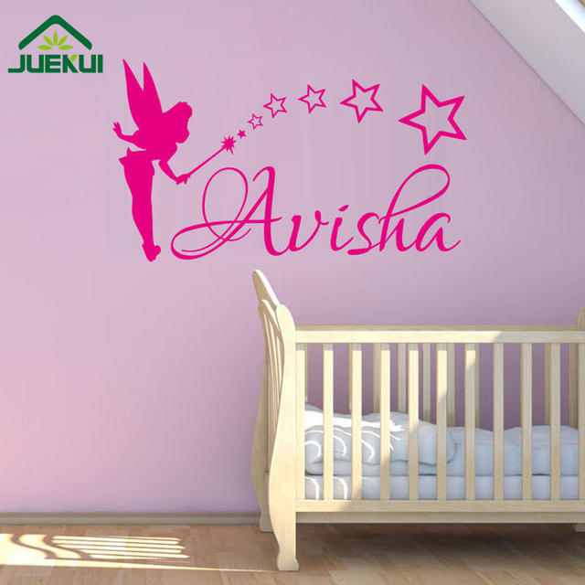 Custom any kids name diy wall sticker art decals for tiny tots room decor fairy sowing
