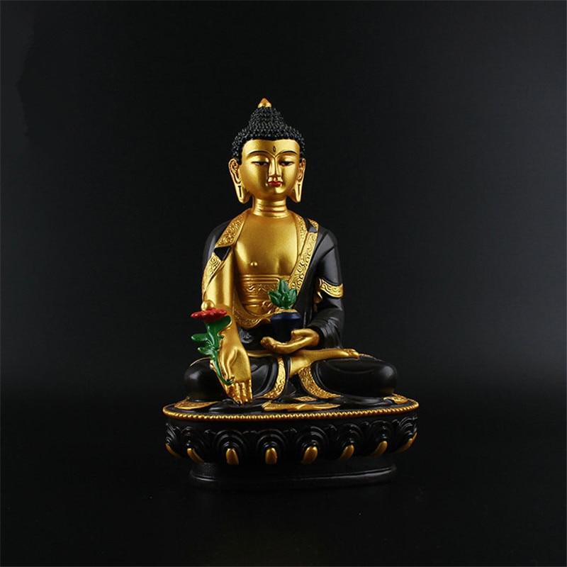 Auspicious Triratna Medicine Buddha Statue Resin Coloured Drawing 20 5cm Figure of Buddha Solemn Temple Good