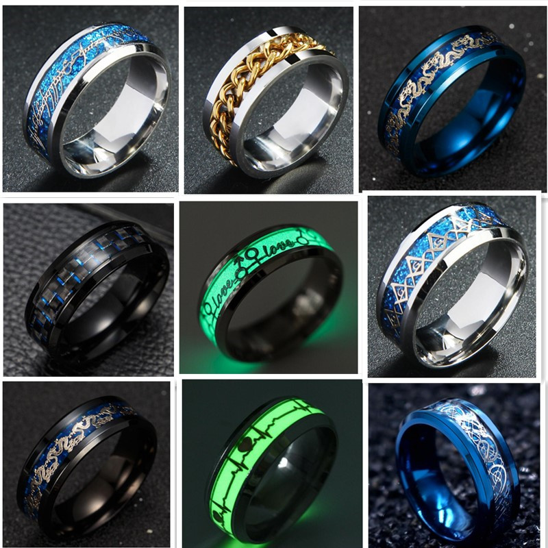 Euramerican-Rings Stainless-Steel Jesus-Cross Black Glow-In-Dark Women Wholesale Jewelry