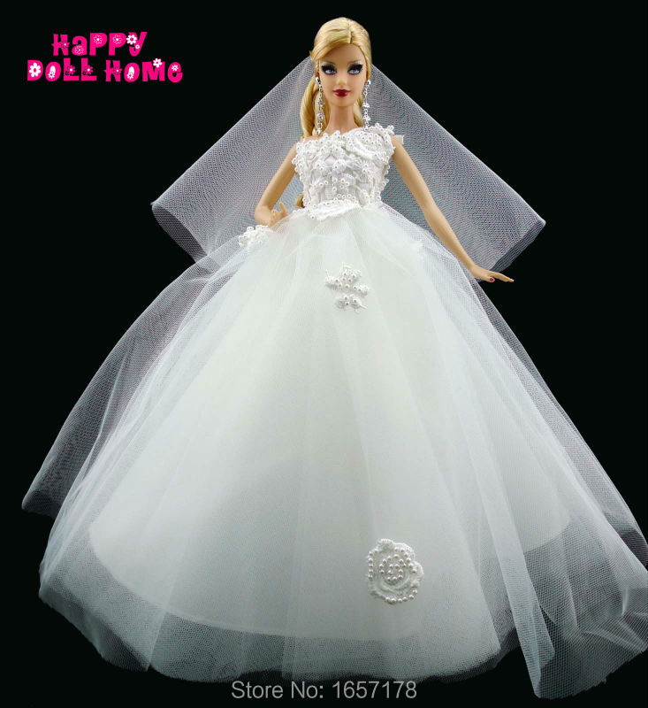 Online buy wholesale bridal barbie dolls from china bridal for Barbie wedding dresses for sale