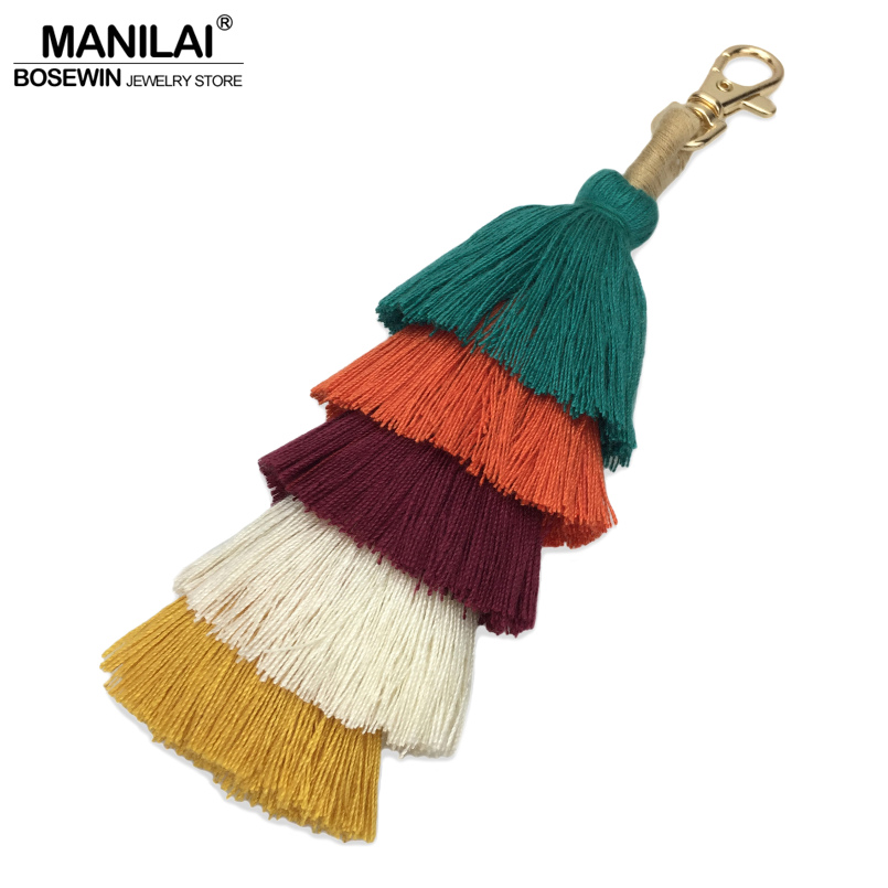 цена MANILAI 17cm 5 Layered Cotton Tassel Keychain Bohemian Charm Women Bag Pendant Fashion Accessories Multicolor Handmade Key Chain в интернет-магазинах