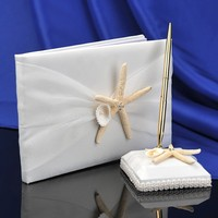 Wholesale Beach Wedding Theme Sea Shell Guest Book And Pen Set Wedding Favor Supplies