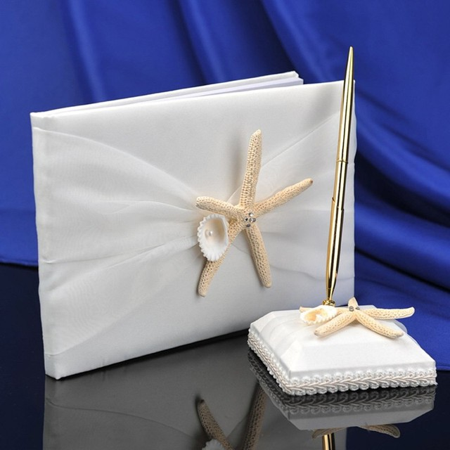 Wholesale Beach Wedding Theme Sea Shell Guest Book And Pen Set