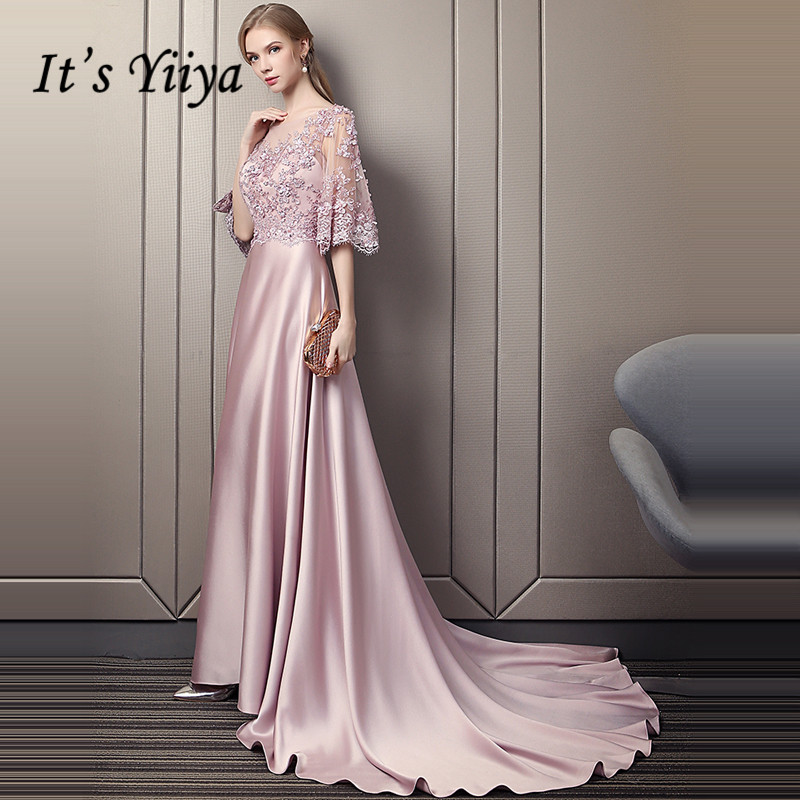 It's Yiiya Evening Dress 2019 Luxury Beading Flowers Satin Bean Paste Color Short Sleeve Formal Dress Train Party Dresses LX1601