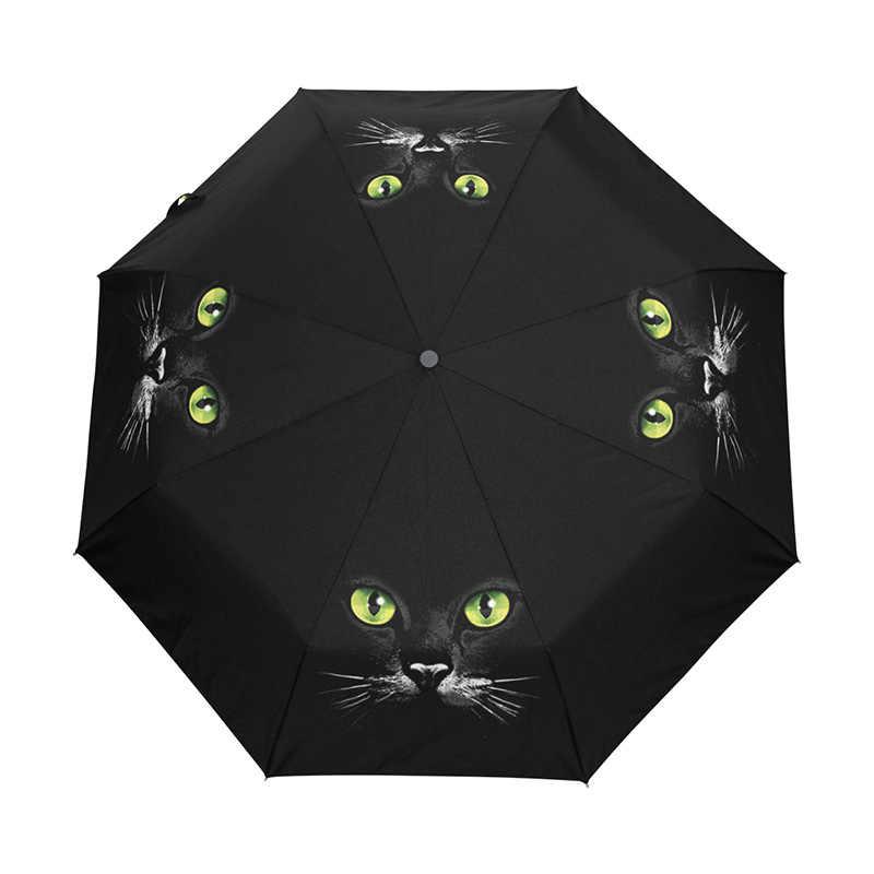 Três dobrável guarda-chuva automático feminino guarda chuva compacto preto guarda-sol winfproof ultra-leve paraguas bonito gato chuva engrenagem