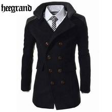 Hee Grand/Мода 2016 года Мужская Осенне-зимнее пальто отложной воротник полушерстяные мужчины бушлат двубортный зимнее пальто MWN113