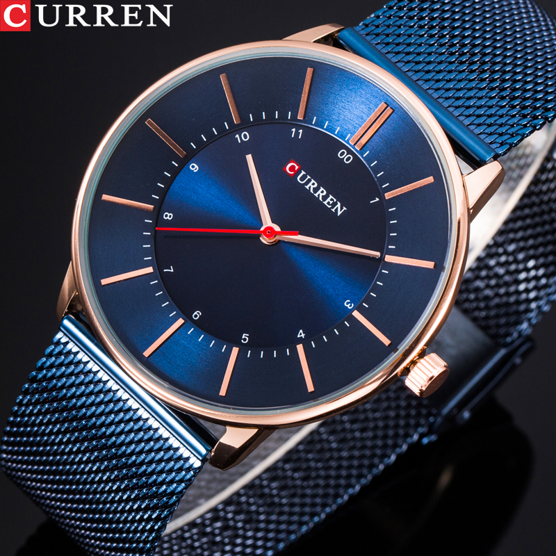 Fashion Creative Men Quartz Watch CURREN Luxury Stainless Steel Mesh Strap Business Wrist Watch Boys Cool Gift Watch Clock geneva men s large dial cool quartz stainless steel business wrist watch