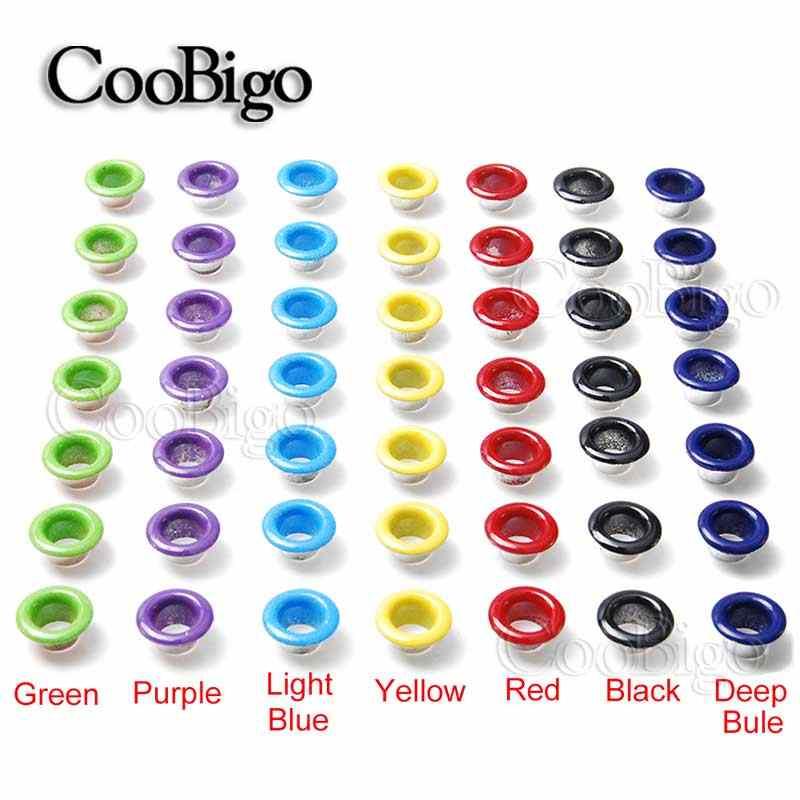 50 sztuk otwór 5mm metalowe mieszane kolor oczka do galanterii skórzanej DIY Scrapbooking buty paskiem Bag tagi tagi odzież moda akcesoria