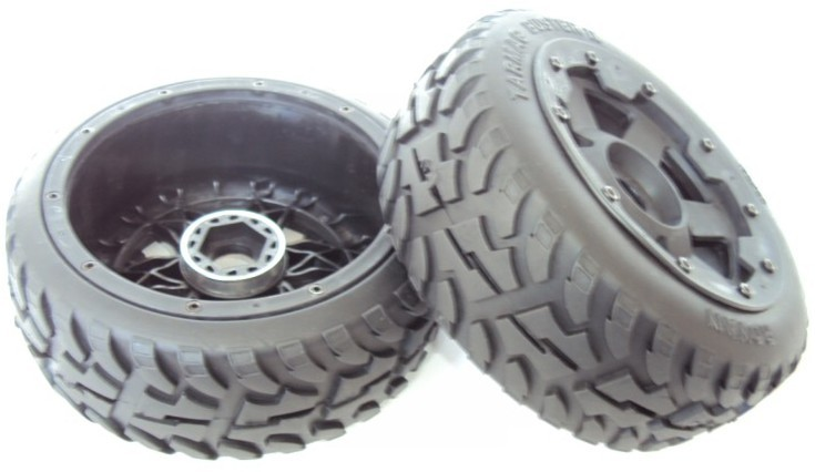 Baja 5B Rovan two generation highway tire assembly front wheel 2 installed 95086
