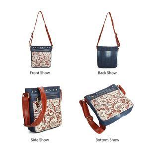 Image 3 - Floral Lace Denim Womens Shoulder Bags with Rivets Fashion Purse Bag Jeans Denim Crossbody Bags Women Messenger Bags