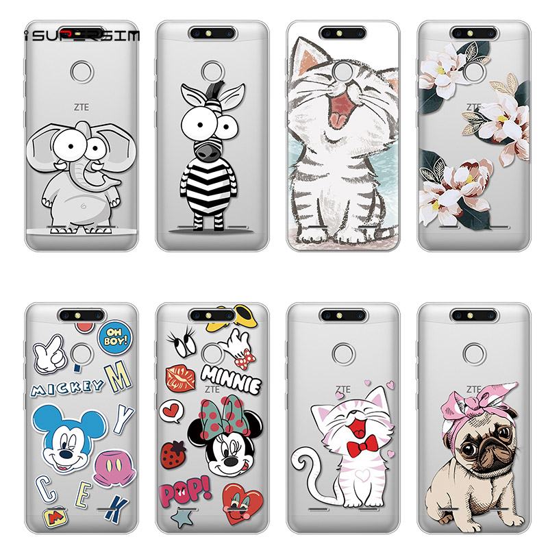 Cartoon Case for ZTE Blade V8 Mini Case 5.0 inches Silicone Ultra Thin Soft TPU Rubber Bags Coque Transparent Back Print Cover
